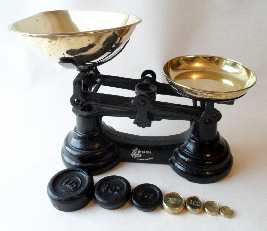 Post Vintage Librasco Black Kitchen Weighing Scales With Imperial Vintage Brass Weights