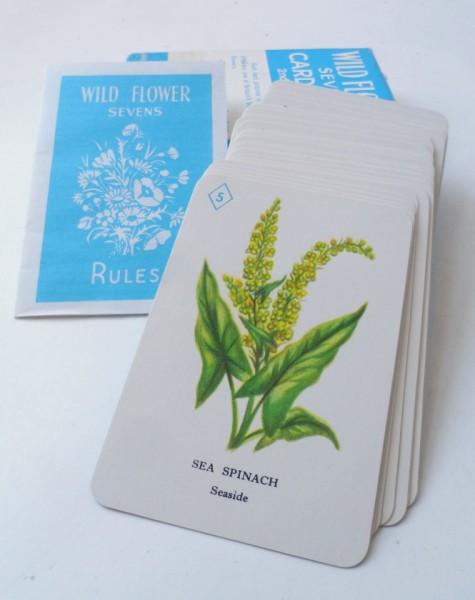 vintage playing cards pepys series wild flower sevens card