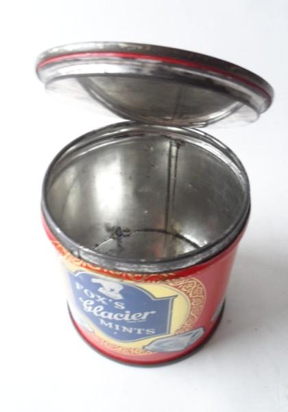 Vintage Tin Fox S Glacier Mints Leicester Belfast Unusual Key Wind Tag Twist Type 1950s Mb Metal Box