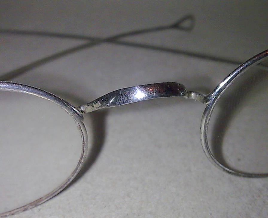 Vintage Steel Oval Spectacles Straight Temple Arms Glasses ...