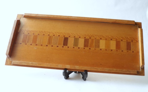 Vintage Wooden Tawa Tray New Zealand Timber Sovereign Woodworkers Ltd Circa 1960s Inlaid Wood Glass