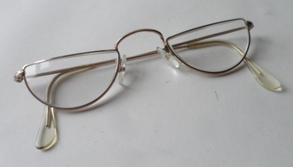 VINTAGE READING SPECTACLES NHTO GOLD FILLED HALF MOON EYE SPECTACLES GLASSES READERS FRAMES 1950S
