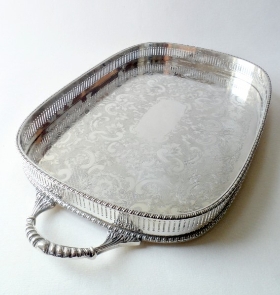 Large Heavy Vintage Silver Plate Handled Tray Pierced