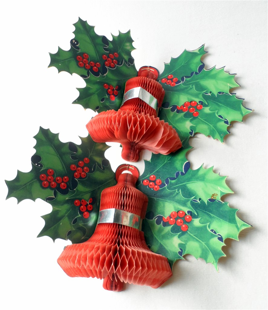 pair of vintage paper card honeycomb bell holly wall christmas decoration circa 1950s - Vintage Christmas Decorations 1950s