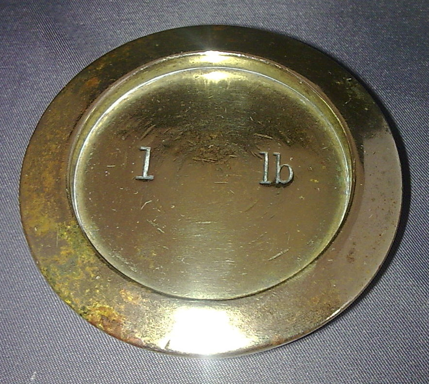 Single Vintage George Vi Brass Shop Weight 1lb Pound Gr