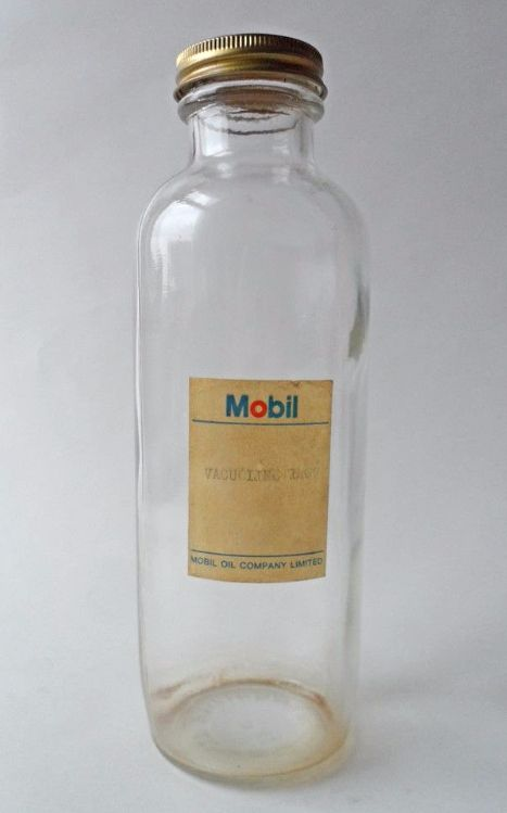 Unusual Vintage Mobil Motor Oil Company Glass Bottle