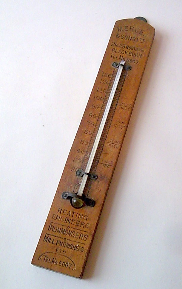 Vintage Wooden Advertising Thermometer Mercer Amp Sons