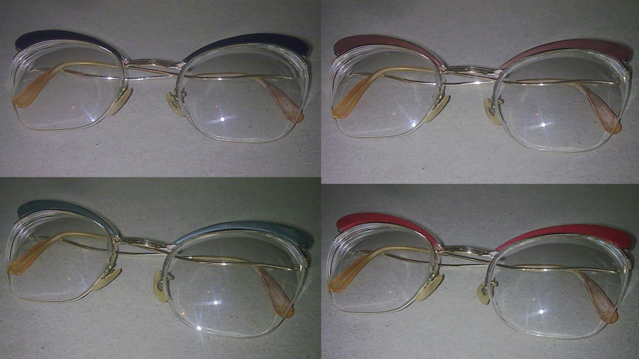 VINTAGE SPECTACLES GLASSES LADIES INTERCHANGEABLE BROWLINE TYPE ALGHA 1/20 GOLD FILLED CIRCA 1970S